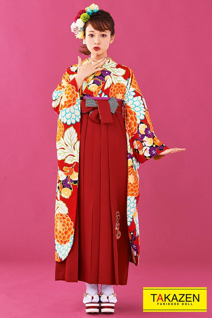 【卒業式袴レンタル/通販可】人気個性的レトロ(可愛いモダン風) 赤/オレンジ R30005