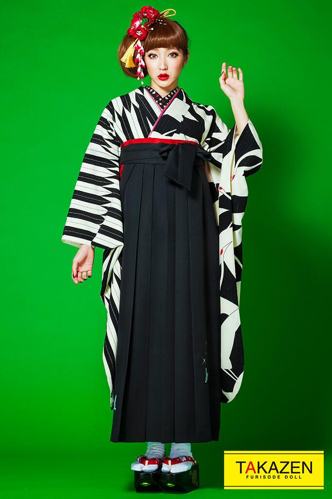 【卒業式袴レンタル/通販可】人気個性的レトロモダン(流行り鶴柄) 白/黒 R30007