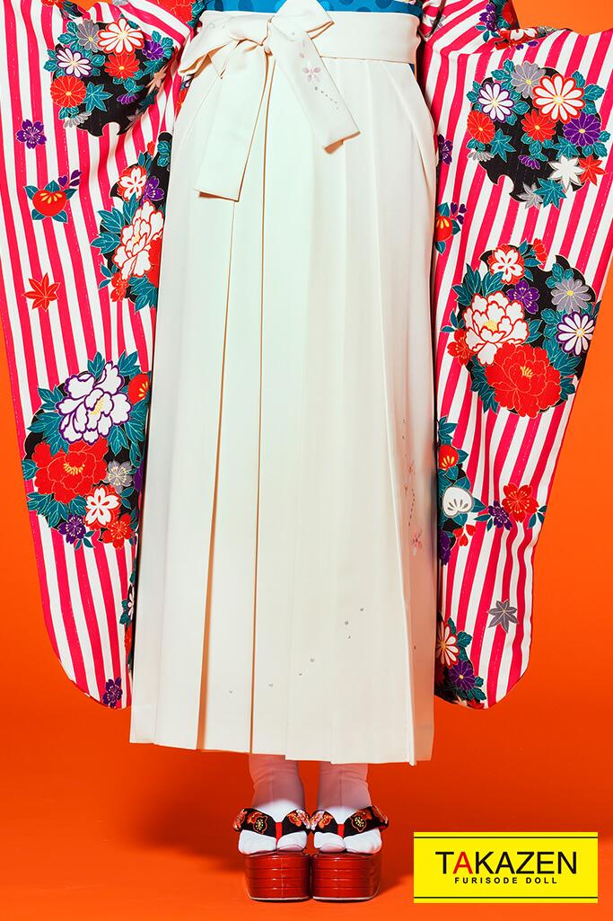 【卒業式袴レンタル/通販可】人気個性的レトロ(可愛いストライプ柄) 白/ピンク R30008