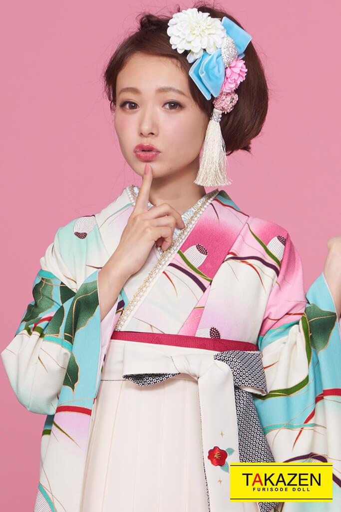 【卒業式袴レンタル/通販可】人気個性的レトロ(流行りモダン) 白/ピンク/ブルー(水色) R30009