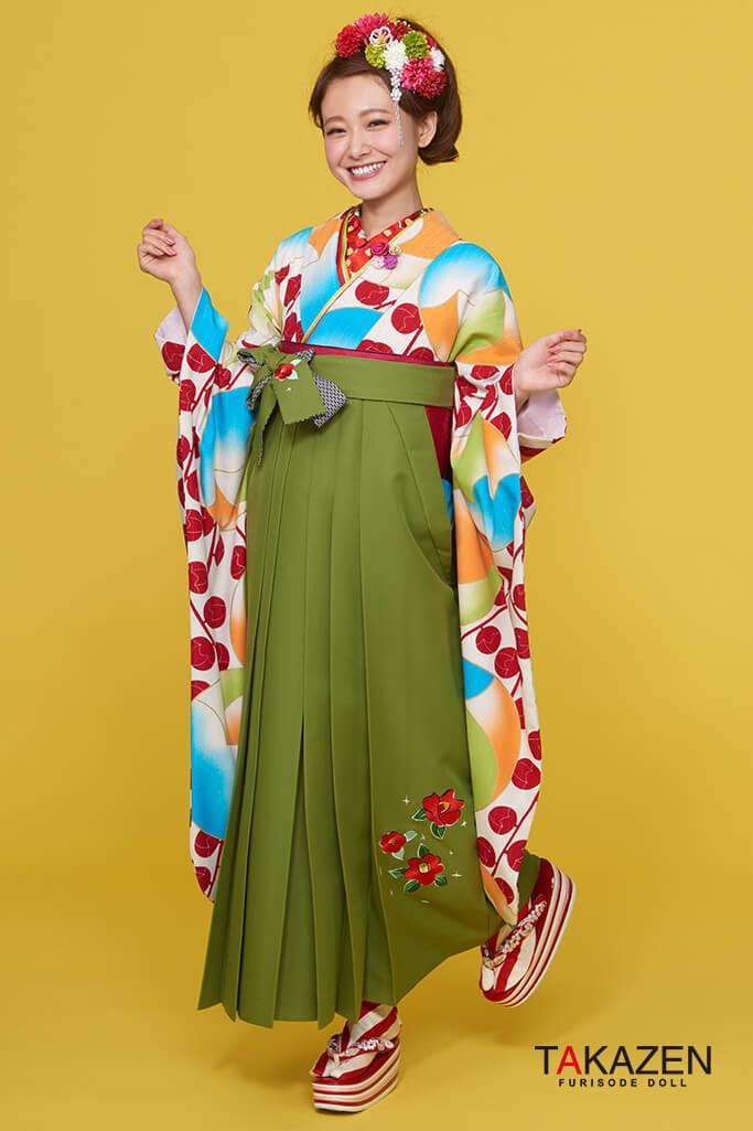 【卒業式袴レンタル/通販可】人気個性的レトロモダン(派手可愛い) 白/赤/グリーン(緑色) R30010