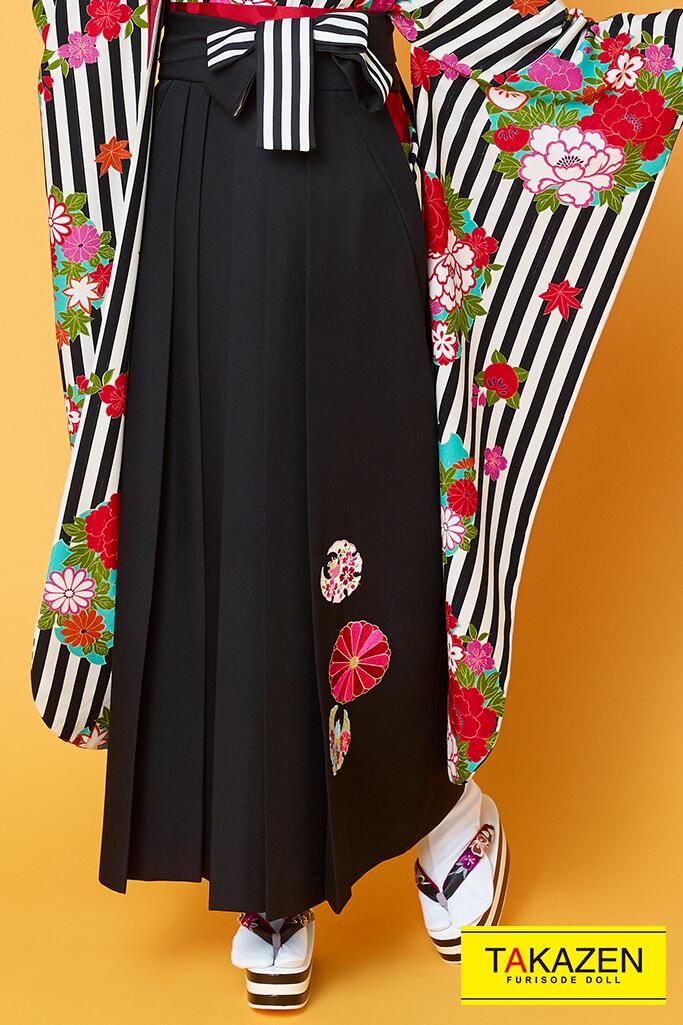【卒業式袴レンタル/通販可】人気個性的レトロモダン(可愛いストライプ柄) 黒/白 R30011