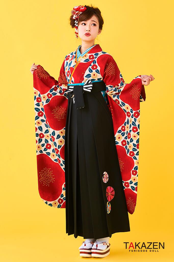 【卒業式袴レンタル/通販可】人気個性的レトロモダン(派手可愛い椿柄) 赤/白/黒 R30013