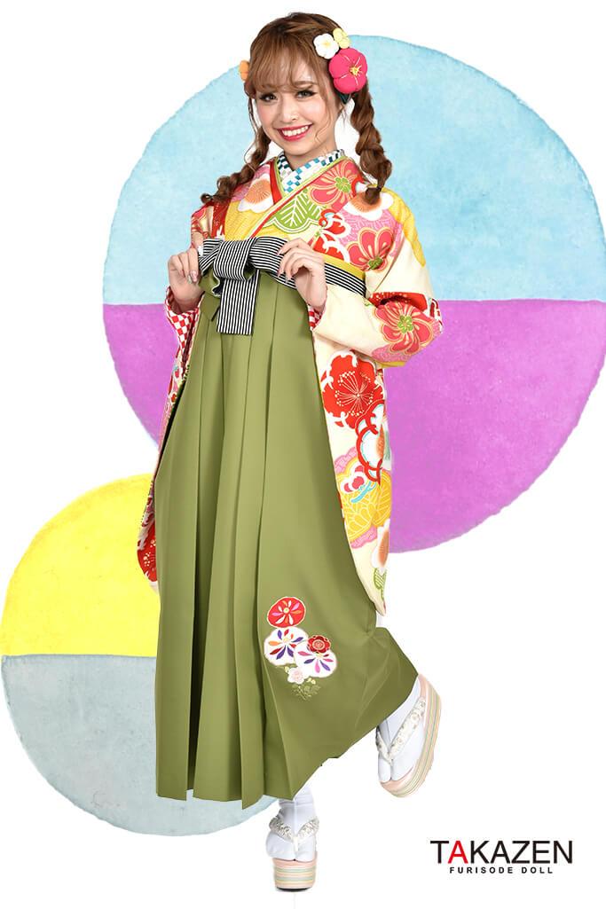 【卒業式袴レンタル/通販可】個性的レトロモダン(ポップでかわいい) クリーム/ピンク/グリーン(緑色) R30014