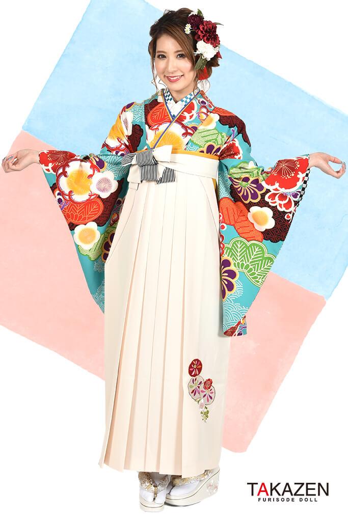 【卒業式袴レンタル/通販可】個性的レトロモダン(かわいい) 白/からし/ブルー(水色) R30015