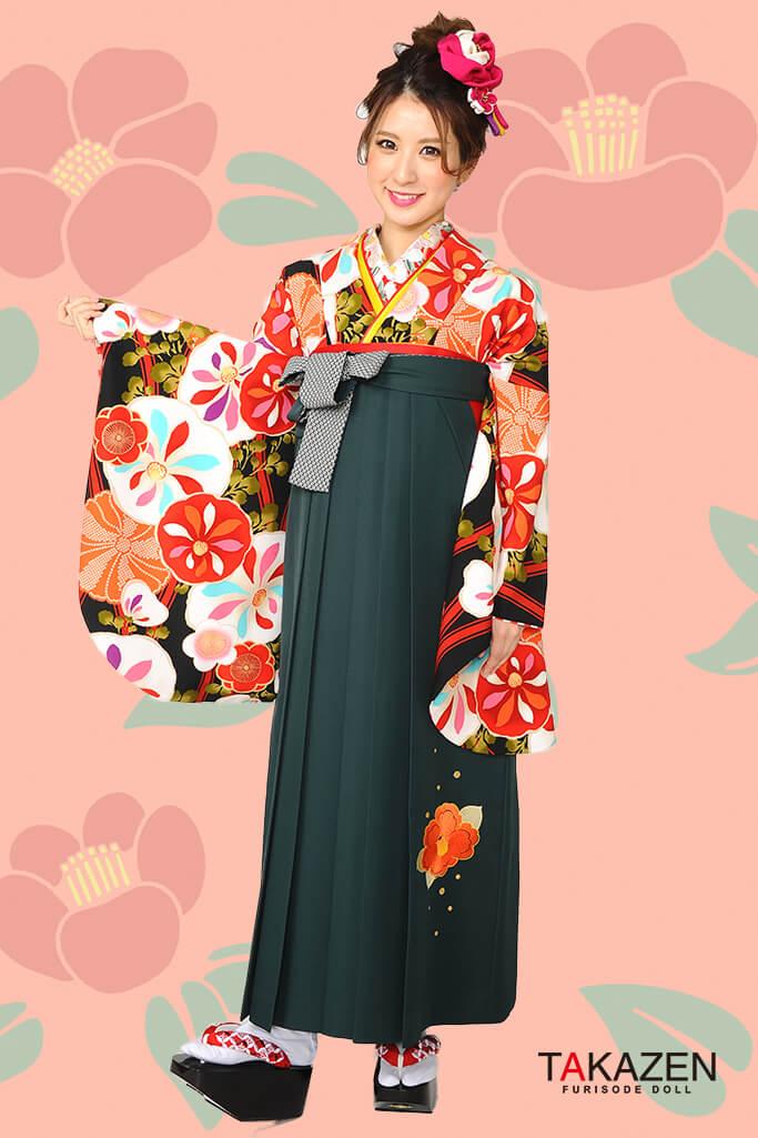【卒業式袴レンタル/通販可】可愛いレトロモダン(個性的ポップ) オレンジ/白/黒 R30017