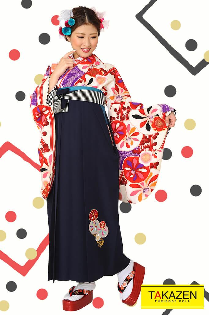 【卒業式袴レンタル/通販可】個性的レトロモダン(華やか目立つ) 白/赤/ピンク R30018