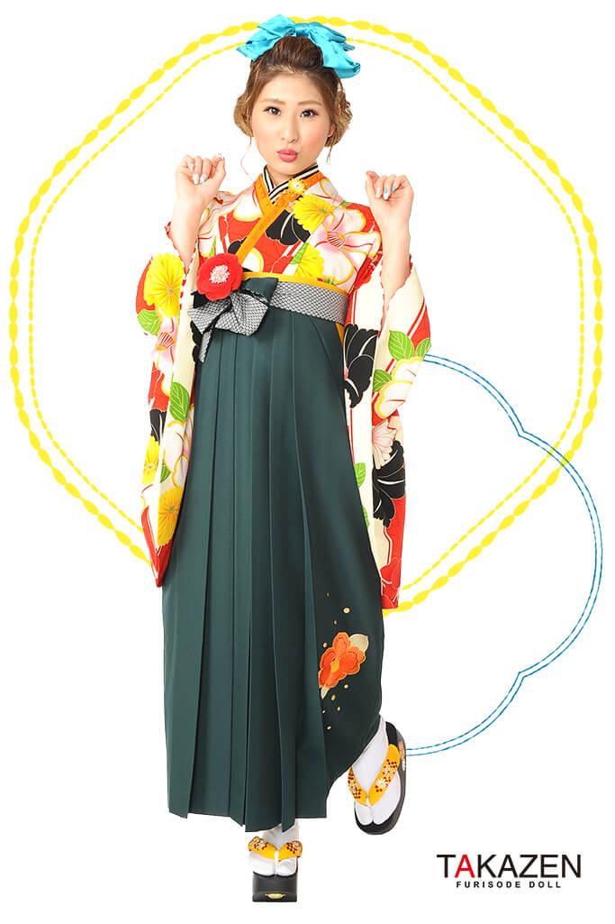 【卒業式袴レンタル/通販可】個性的レトロモダン(かわいい椿柄) 白/赤/グリーン(緑色) R30019