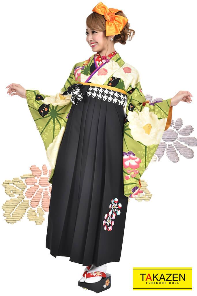 【卒業式袴レンタル/通販可】個性的可愛いレトロ(おしゃれ) 白/クリーム/グリーン(黄緑) R30020