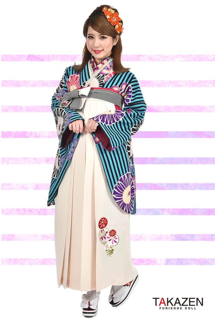 【卒業式袴レンタル/通販可】個性的レトロモダン(ストライプ柄) 黒/紫/ピンク/ブルー(青色) R30022