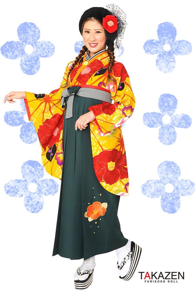 【卒業式袴レンタル/通販可】個性的レトロモダン(派手椿柄) 赤/カラシ/オレンジ R30023