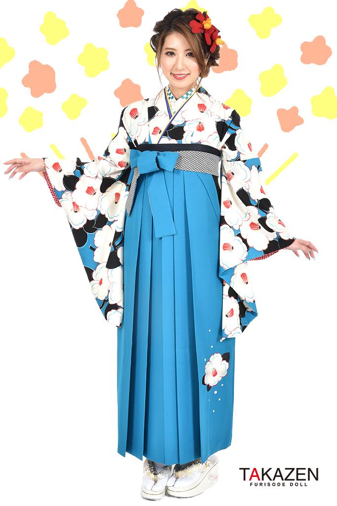 【卒業式袴レンタル/通販可】可愛い個性的レトロモダン(ツバキ柄) 黒/白/ブルー(青色) R30039