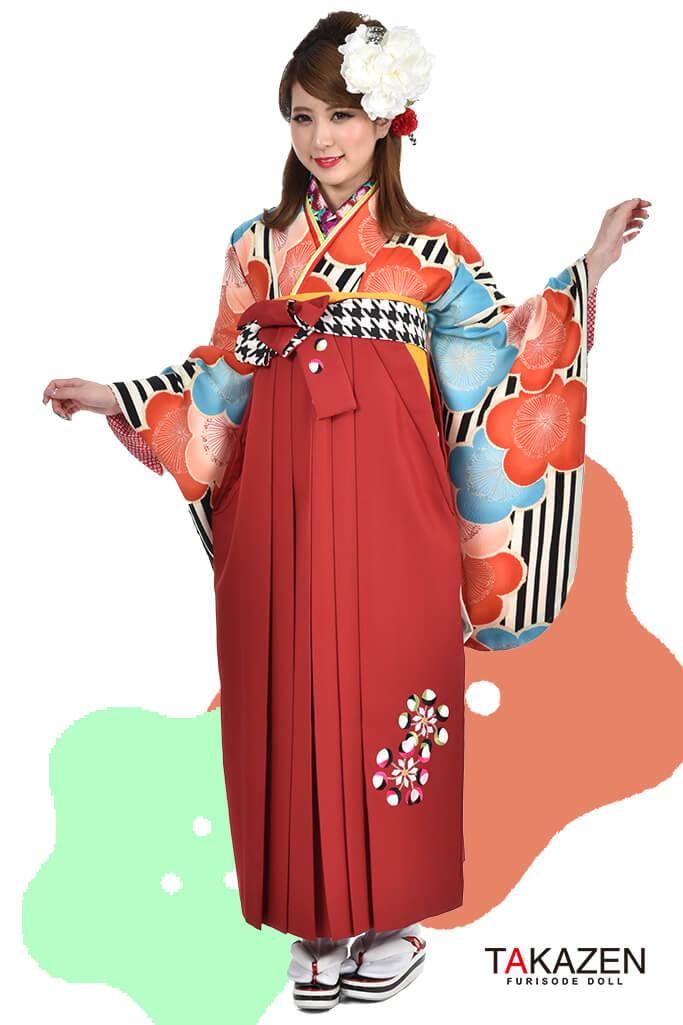 【卒業式袴レンタル/通販可】個性的レトロモダン(おしゃれな花柄) オレンジ/黒/グリーン(緑色) R30040