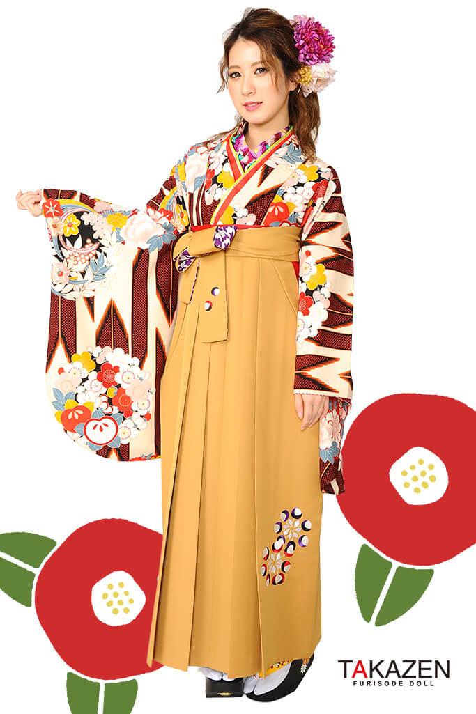 【卒業式袴レンタル/通販可】個性的レトロモダン(上品古典風) 茶/ブラウン/クリーム R30043
