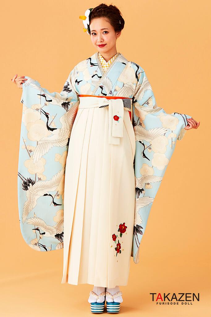 【卒業式袴レンタル/通販可】人気個性的レトロモダン(流行り鶴柄) 白/クリーム/ブルー(水色) R30050