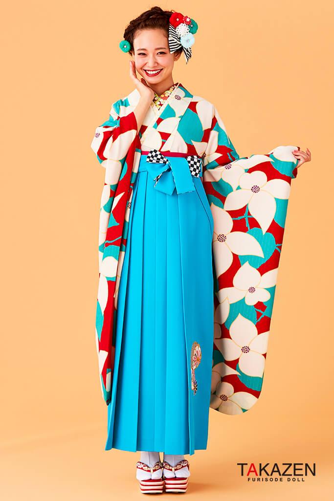 【卒業式袴レンタル/通販可】人気個性的レトロポップ(派手可愛い) 赤/白/ブルー(青色) R30051
