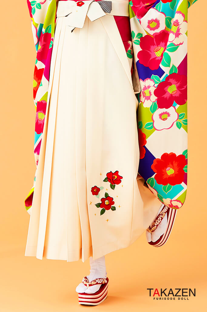 【卒業式袴レンタル/通販可】人気個性的レトロモダン(派手可愛い) オレンジ/白/グリーン(緑色) R30052