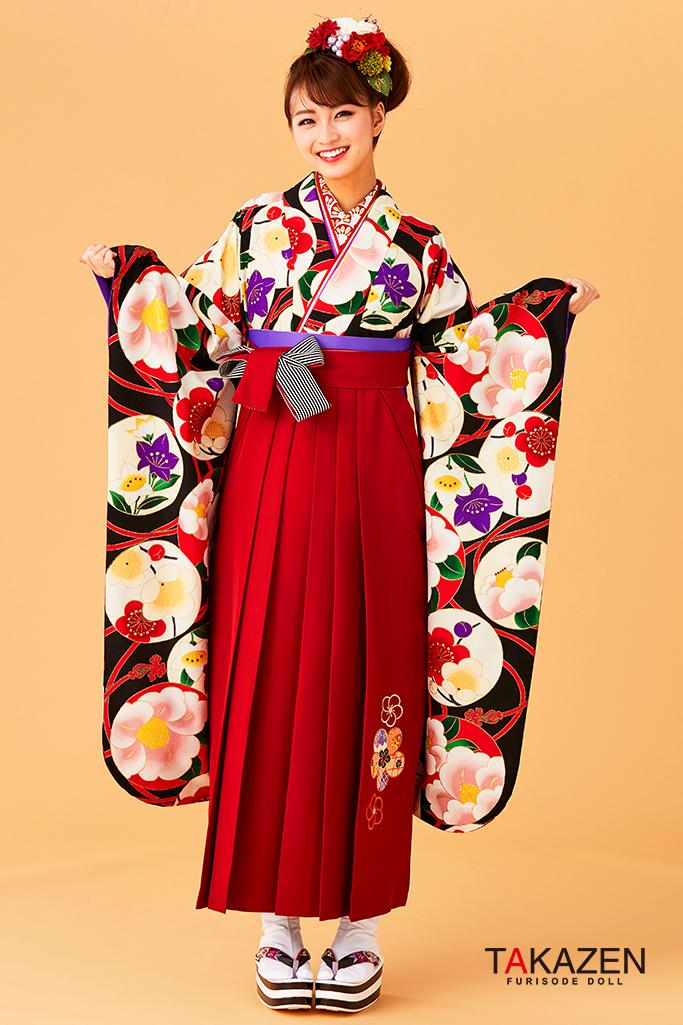 【卒業式袴レンタル/通販可】人気個性的レトロモダン(可愛いアンティーク柄) 黒/白/赤 R30053