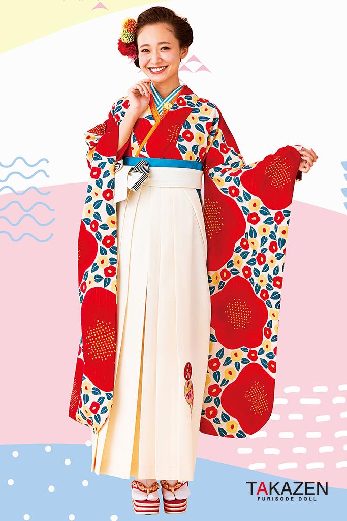 【卒業式袴レンタル/通販可】人気個性的レトロモダン(可愛い椿柄) 赤/白 R30054