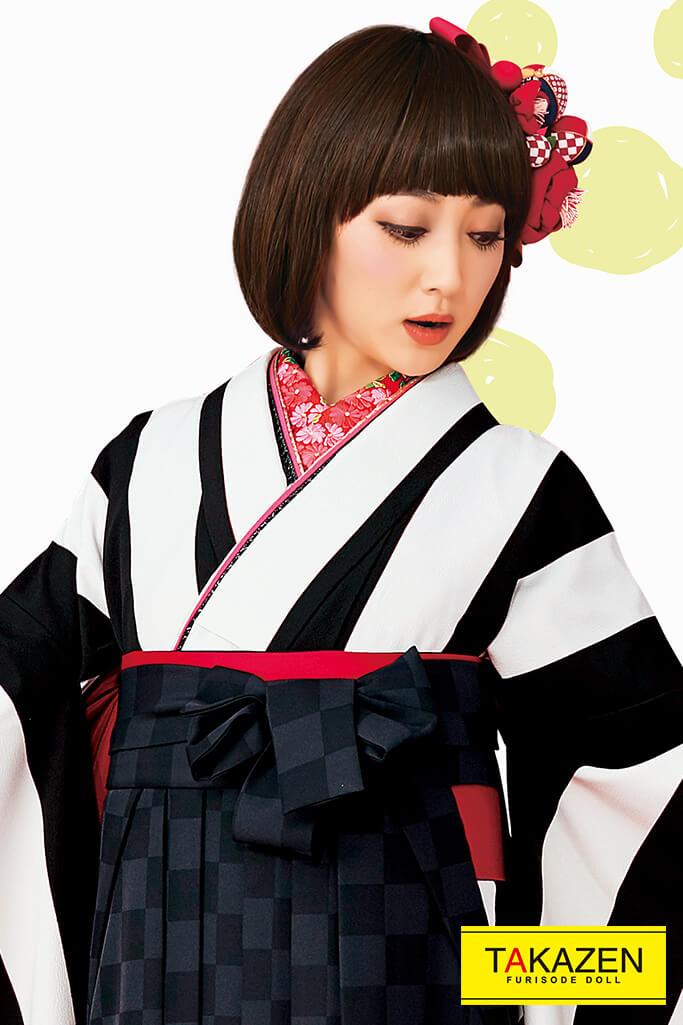 【卒業式袴レンタル/通販可】人気個性的レトロモダン(目立つストライプ柄) 黒/白 R30055