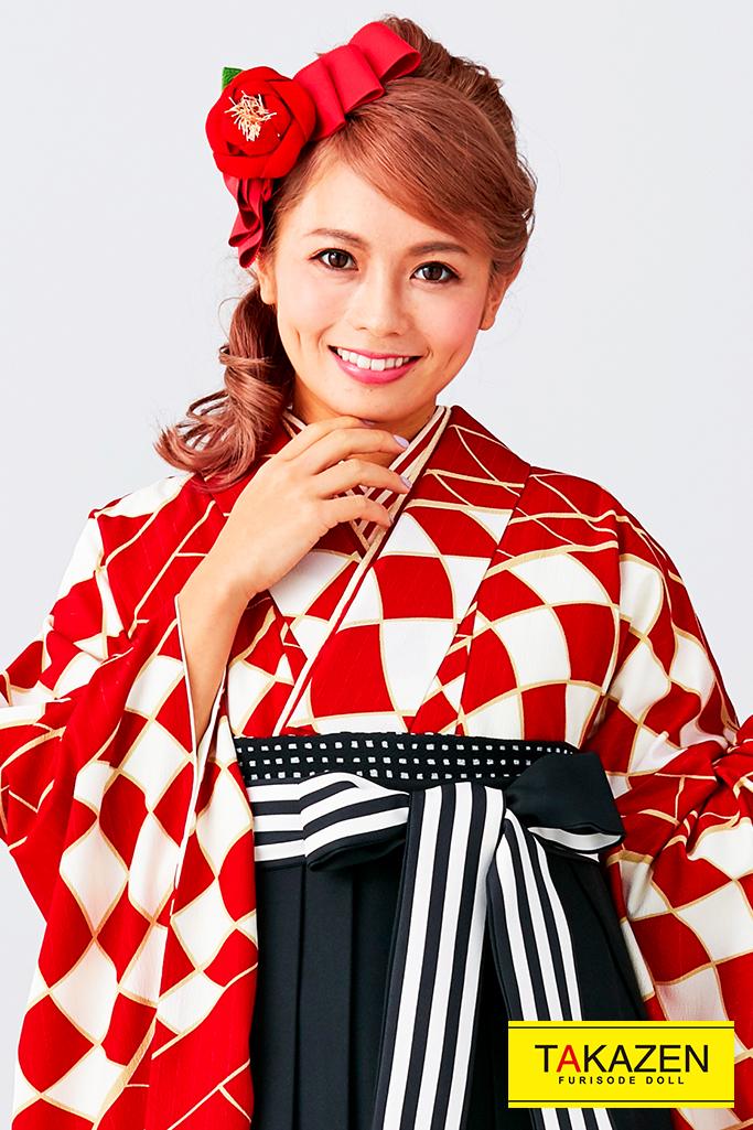 【卒業式袴レンタル/通販可】人気個性的レトロモダン(目立つアンティーク柄) 赤/白/黒 R30056