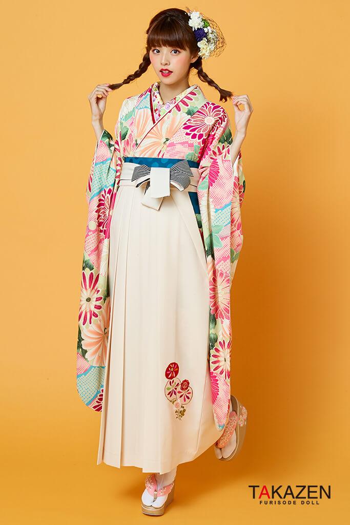 【卒業式袴レンタル/通販可】個性的レトロ可愛い(流行りモダン) ピンク/白/ブルー(水色) R31001
