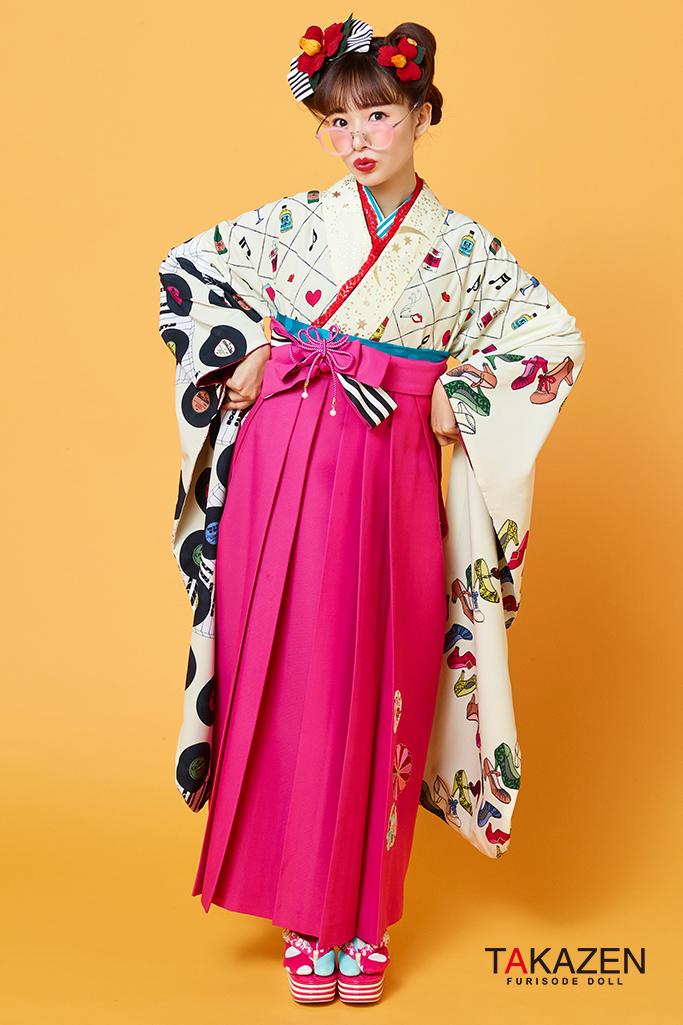 【卒業式袴レンタル/通販可】個性的レトロ目立つ(派手可愛い) ピンク/白/クリーム R31002