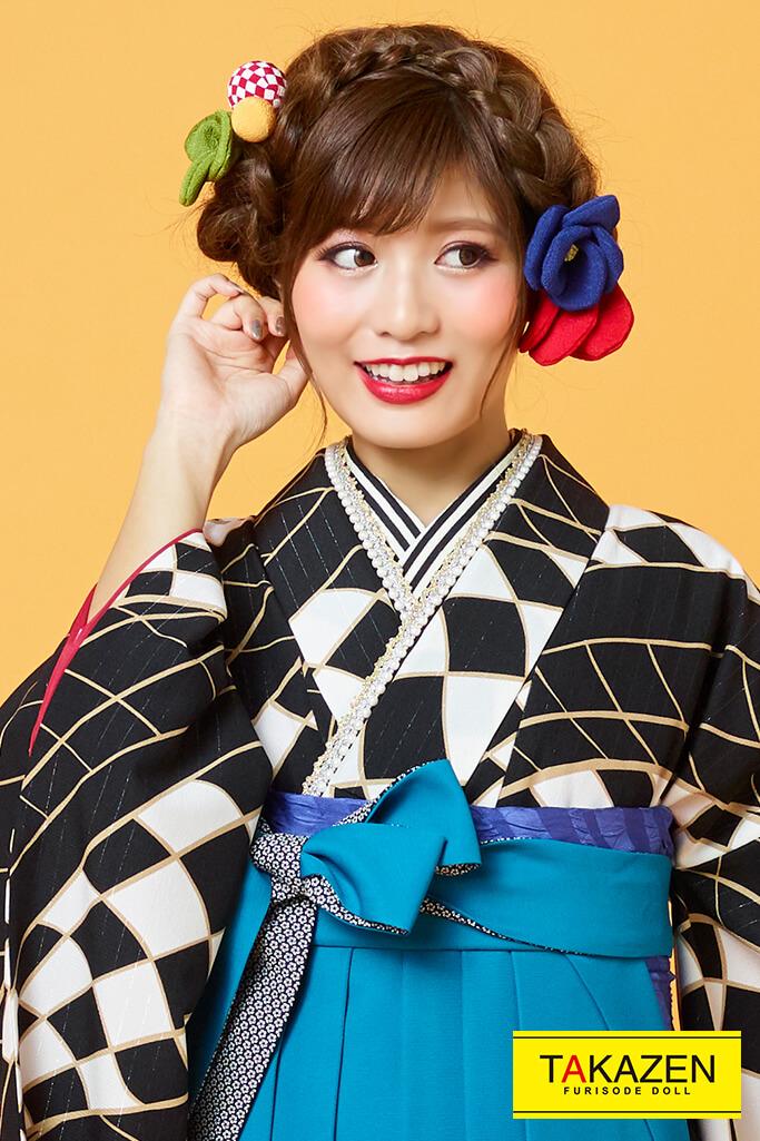 【卒業式袴レンタル/通販可】個性的レトロモダン(幾何学模様派手目立つ) 黒/青色(水色) R31003
