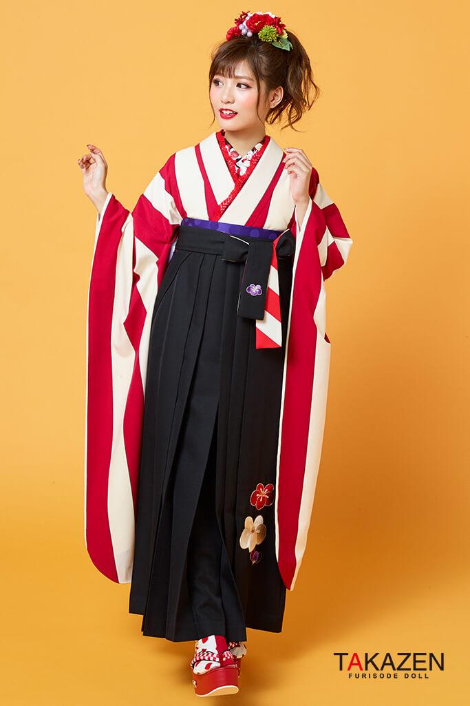 【卒業式袴レンタル/通販可】個性的レトロモダン(ストライプ可愛い目立つ) 黒/赤 R31004