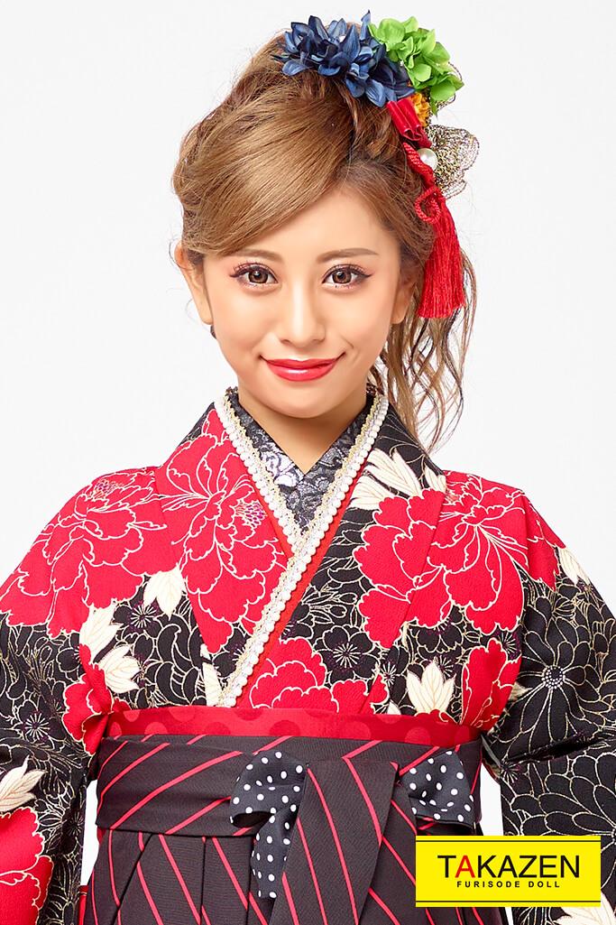 【卒業式袴レンタル/通販可】派手かっこいい(目立つクール) 黒/赤 R31005