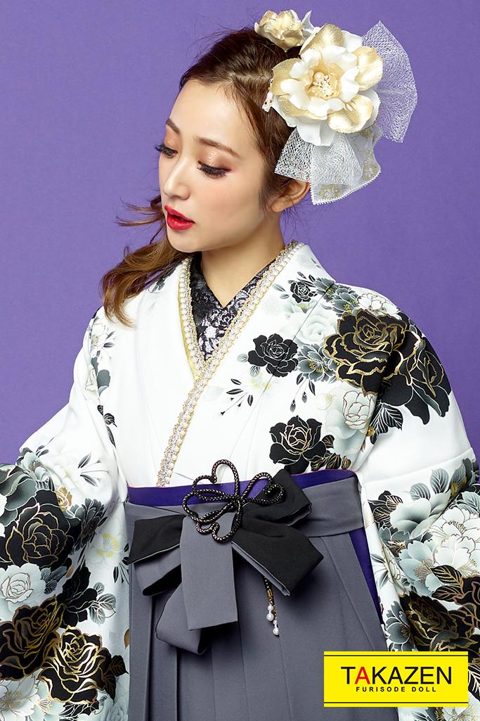 【卒業式袴レンタル/通販可】派手カッコイイ(目立つクール) 黒/白/グレー(銀色) R31006