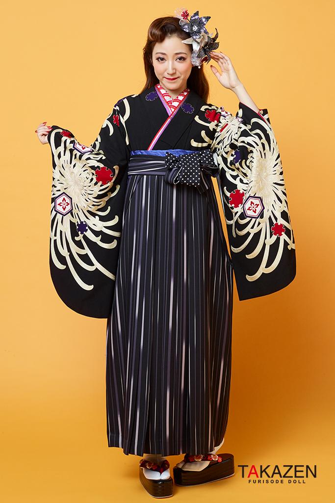 【卒業式袴レンタル/通販可】派手カッコイイ(目立つ被らないクール) 黒/紫 R31007