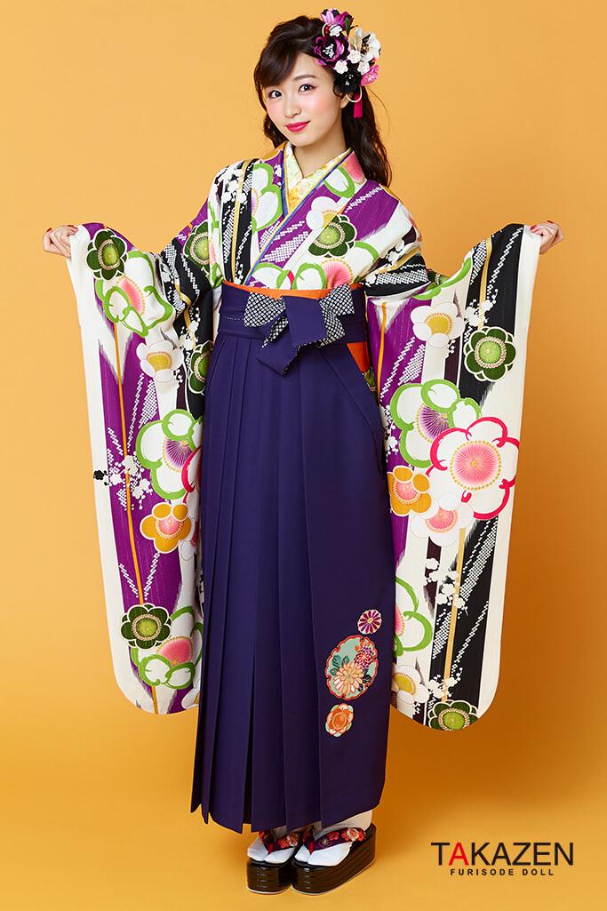 【卒業式袴レンタル/通販可】個性的レトロ可愛い(流行りモダン) 白/紫/グリーン(黄緑) R31008
