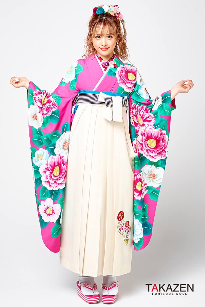 【卒業式袴レンタル/通販可】個性的レトロモダン(派手可愛いツバキ) 白/ピンク R31009