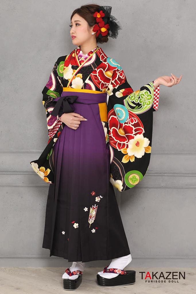 【卒業式袴レンタル/通販可】レトロモダン椿柄(派手可愛い) 黒/白/赤 R31022
