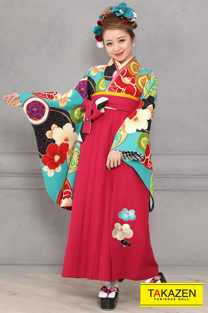 【卒業式袴レンタル/通販可】レトロモダン椿柄(派手可愛い) 黒/赤/ブルー(水色) R31023