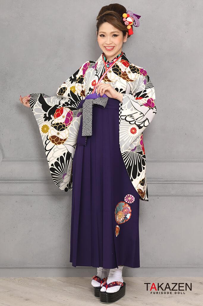 【卒業式袴レンタル/通販可】個性的レトロモダン(大人可愛い鶴柄) グレー/黒/紫 R31024