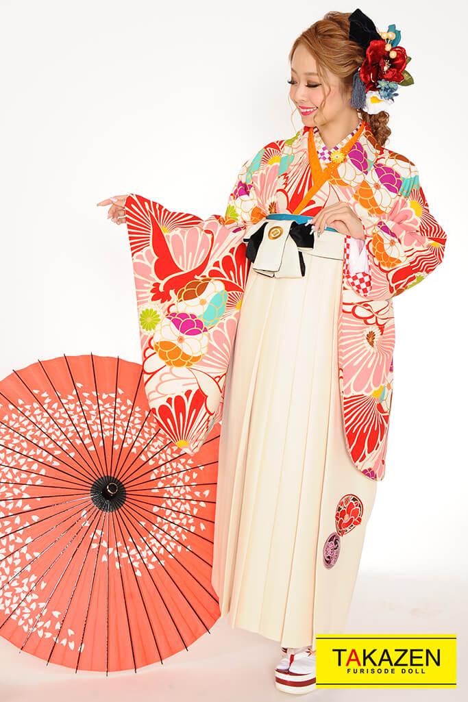 【卒業式袴レンタル/通販可】可愛い個性的レトロモダン(花柄) クリーム/ピンク/白 R31025