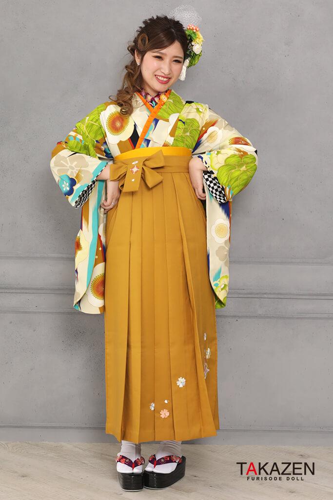 【卒業式袴レンタル/通販可】可愛い個性的レトロ(モダン目立つ) グリーン(緑色)/黄緑 R31026