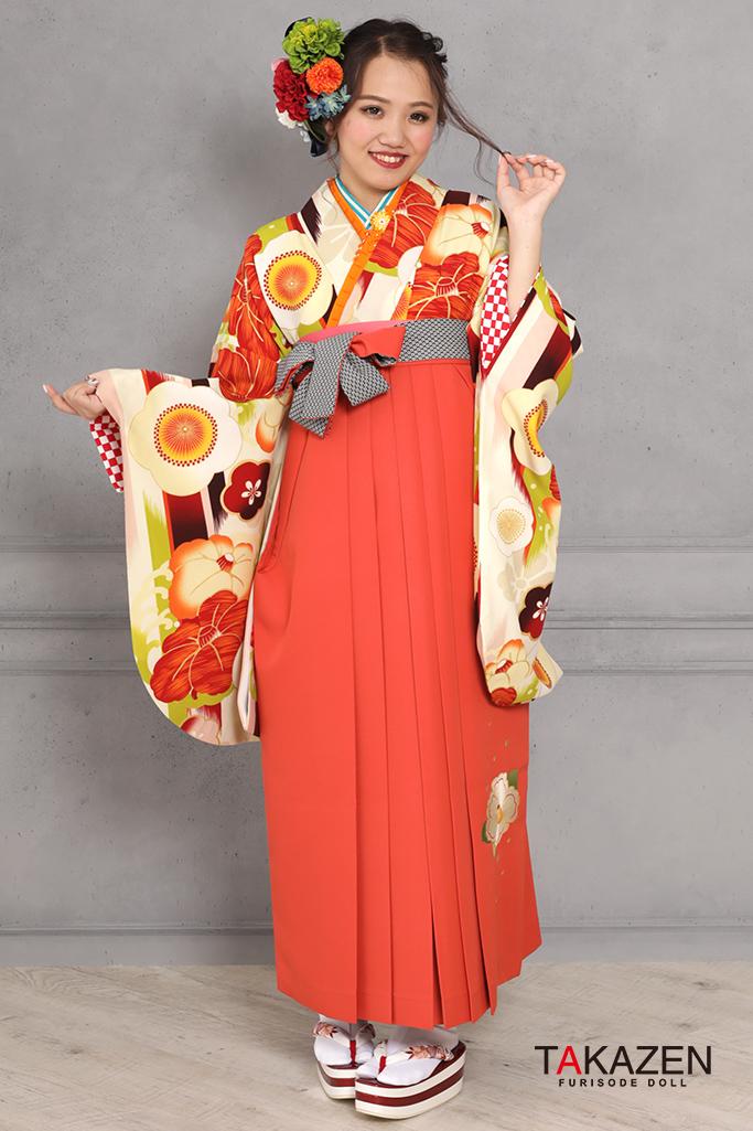 【卒業式袴レンタル/通販可】可愛い個性的レトロ(モダン目立つ) オレンジ/グリーン(黄緑) R31027