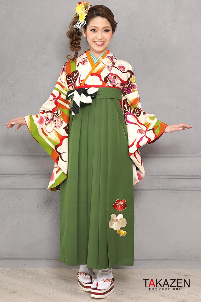 【卒業式袴レンタル/通販可】レトロモダン椿柄(可愛い個性的) オレンジ/白/グリーン(緑色) R31028