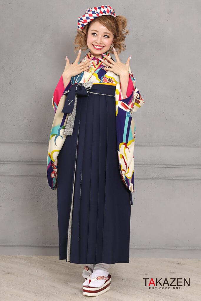 【卒業式袴レンタル/通販可】レトロモダン椿柄(可愛い個性的) ピンク/白/ブルー(水色) R31029