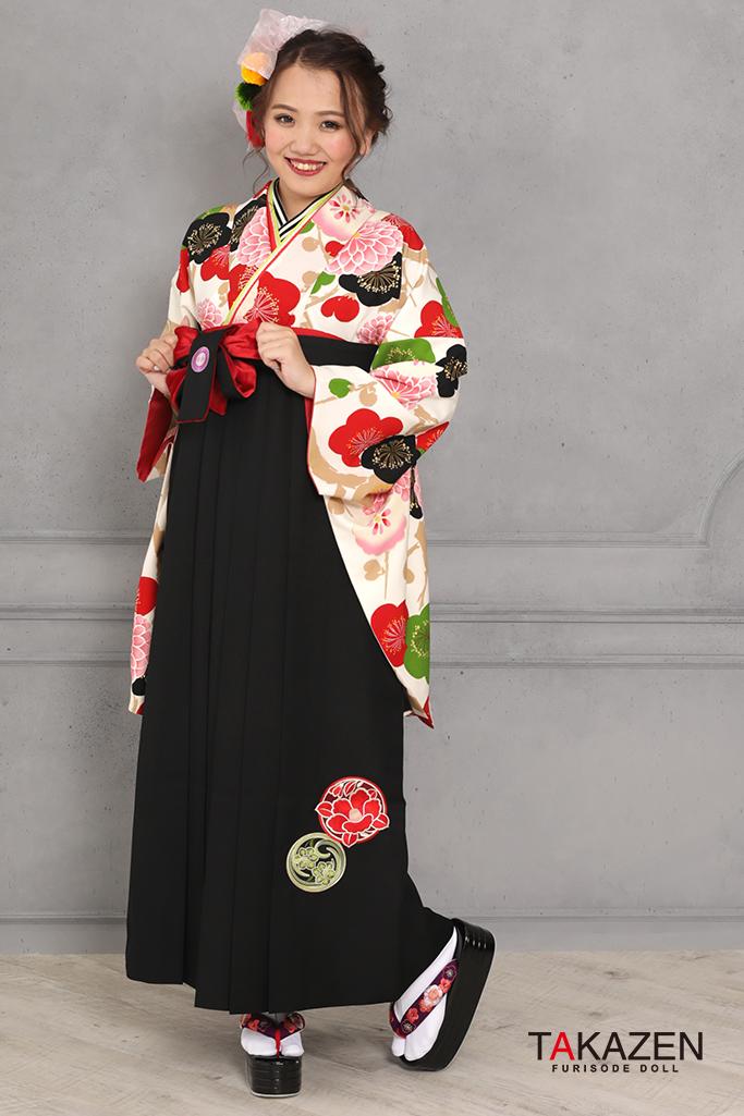 【卒業式袴レンタル/通販可】可愛い個性的レトロ(モダン目立つ) 白/赤/グリーン(緑色) R31030