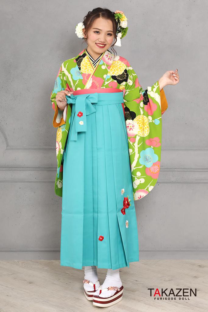 【卒業式袴レンタル/通販可】可愛い個性的レトロ(モダン目立つ) ピンク/グリーン(緑色) R31031