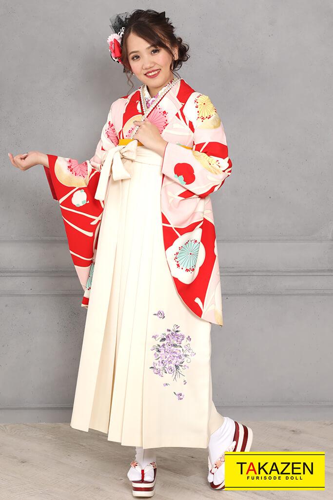 【卒業式袴レンタル/通販可】レトロモダン(アンティーク調可愛い) 白/赤/ピンク R31033