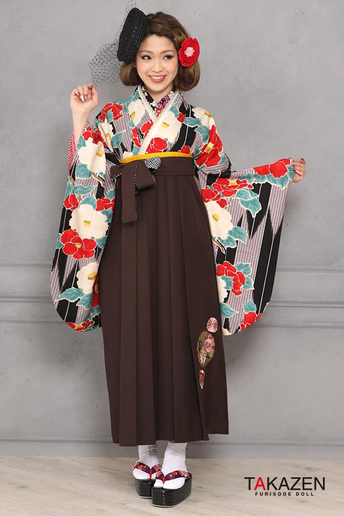 【卒業式袴レンタル/通販可】個性的レトロモダン(目立つツバキ柄) 黒/赤/クリーム R31040