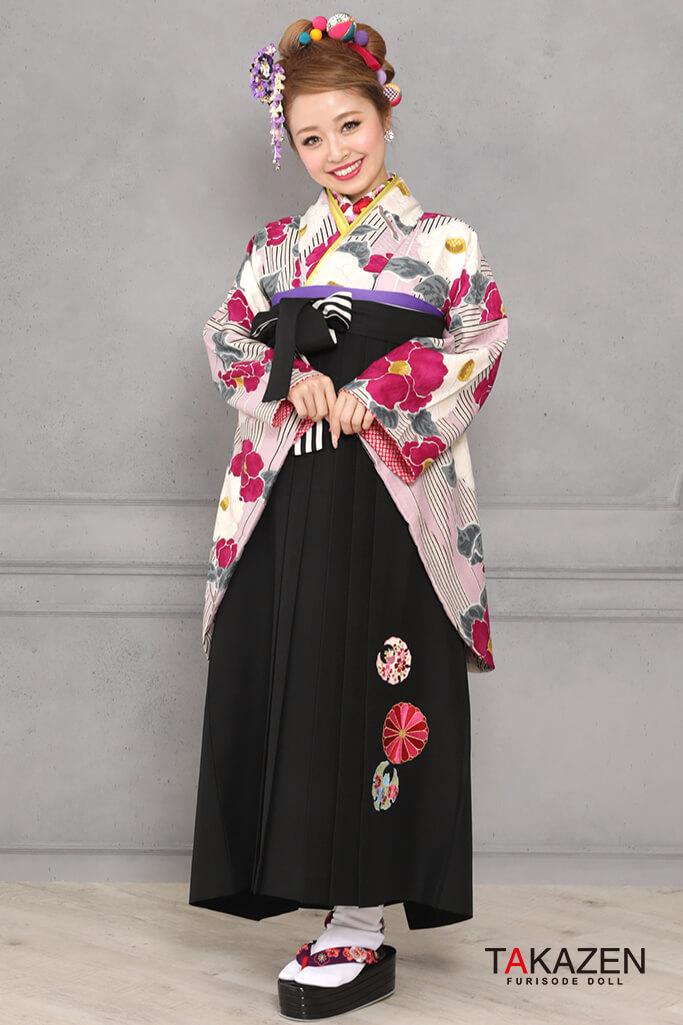 【卒業式袴レンタル/通販可】個性的レトロモダン(目立つツバキ柄) 紫/白/ピンク R31041