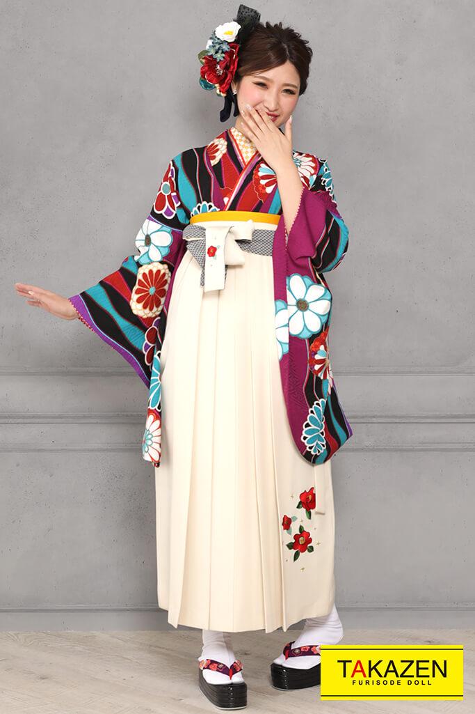 【卒業式袴レンタル/通販可】可愛いレトロ(個性的モダン柄) 紫/ブルー(青色) R31043