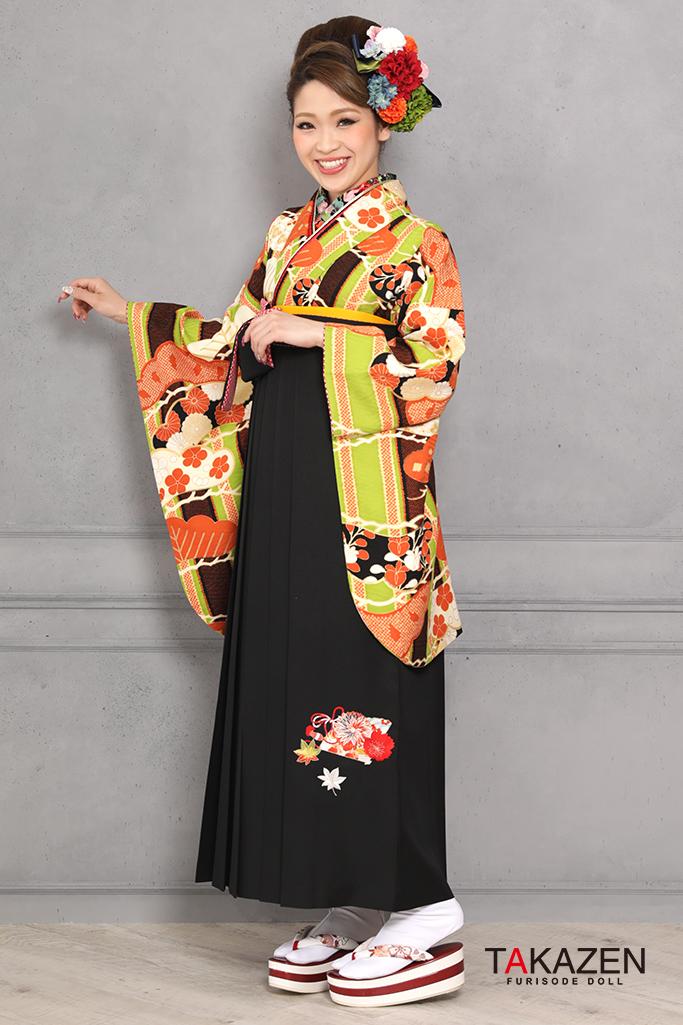 【卒業式袴レンタル/通販可】個性的レトロモダン(可愛い古典風) オレンジ/グリーン(黄緑) R31045