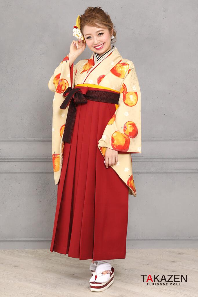 【卒業式袴レンタル/通販可】個性的レトロモダン(被らないリンゴ柄) オレンジ/クリーム R31046